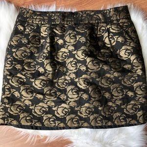 LOFT Outlet Floral Black Gold Mini Skirt